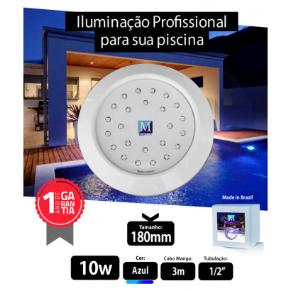 Led 10w Azul ABS 180mm Marol 01
