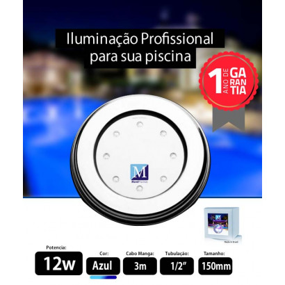 Led para piscina 12w Azul Inox 150mm Marol Piscinas