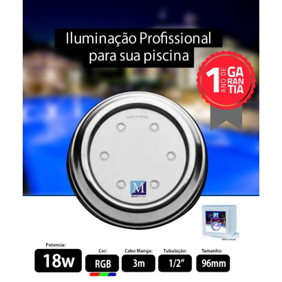 Led para piscina 18w RGB Inox 96mm Marol Piscinas