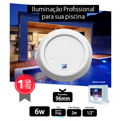 Led para piscina 6w Branco Frio ABS 96mm Marol Piscinas