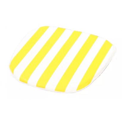 Almofada Assento para Poltrona Listrada Amarela/Branca