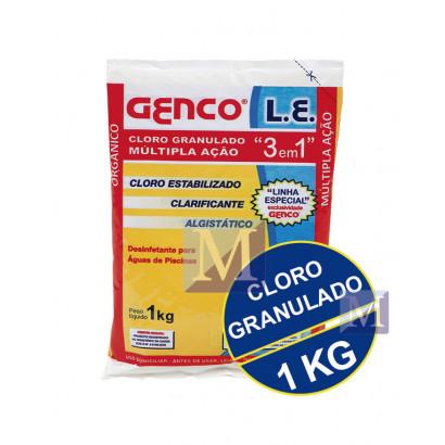 Cloro granulado L.E. 3 em 1 - 1,0 kg - Genco