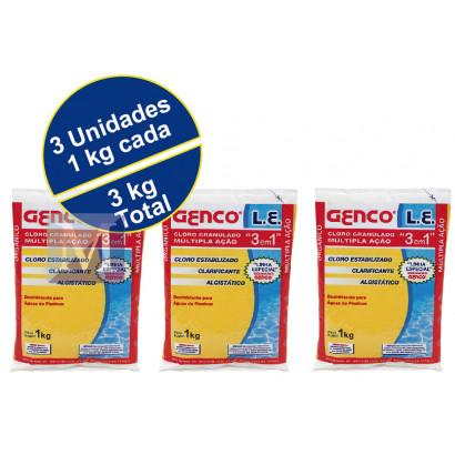 3 unidades Cloro granulado 1,0 kg L.E. 3 em 1 Genco