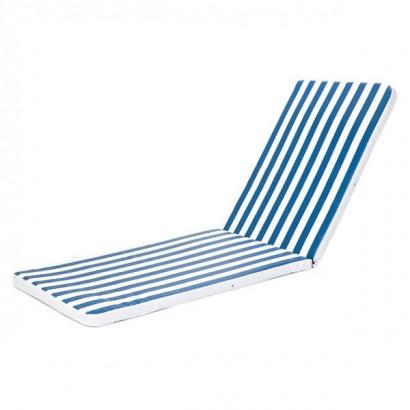 Almofada para Espreguiçadeira Listrada Azul/Branca Dupla (5 cm)