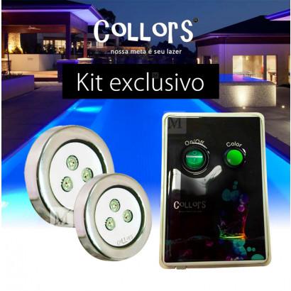 Kit Collors up 2 led colorido + 1 caixa de comando