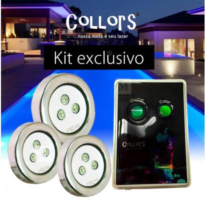 Kit Collors up 3 led colorido + 1 caixa de comando