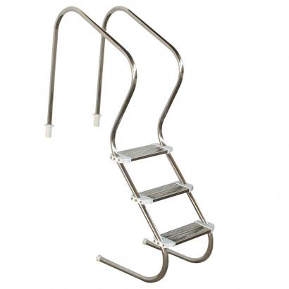 Escada  em aço inox para piscina - Sodramar - Confort 2´ com 3 degraus duplos em aço inox