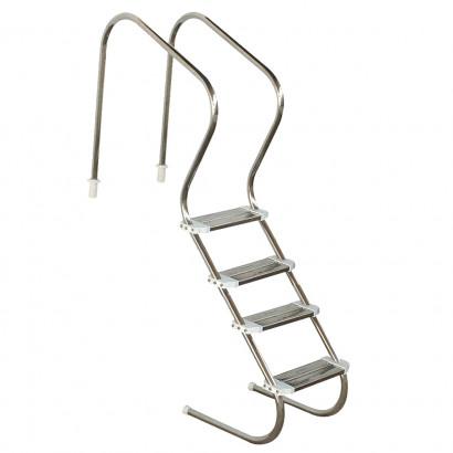 Escada  em aço inox para piscina - Sodramar - Confort 2´ com 4 degraus duplos em aço inox