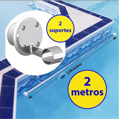 Corrimão Barra para piscinas 2 metros + 2 suportes internos fixação