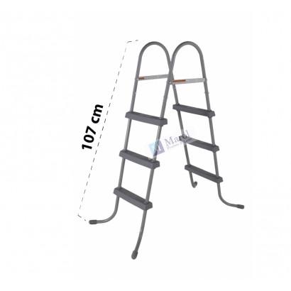 Armação de metal 3 Degraus em cada lado da escada Degraus antiderrapante em PVC  Ponteiras emborrachadas  Dimensões do produto: Comprimento: 119 cm   Largura: 41,5 cm   Altura: 107 cm Para piscinas infláveis ou estruturadas com altura de até 1,07 metros