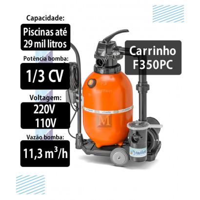 Filtro e bomba portátil com carrinho F350pc piscinas até 29 mil litros Nautilus