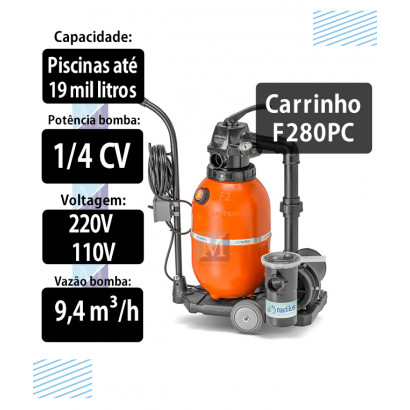 kit Filtro e bomba portátil c/ carrinho F280pc para piscinas até 19 mil litros - Nautilus
