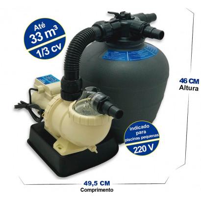 kit Filtro FMS-13 e bomba 1/3 Cv para Piscinas infláveis até 33 mil Litros - Sodramar