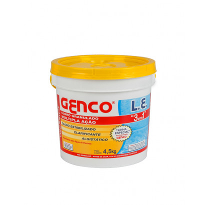 Cloro granulado L.E. 3 em 1 | 4,5 Kg - Genco