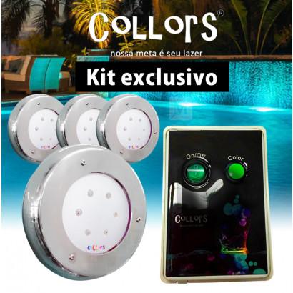 Kit Collors Clean 18w  4 led colorido + 1 caixa de comando