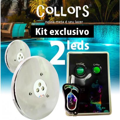 Kit Collors March 2 led colorido + 1 caixa de comando
