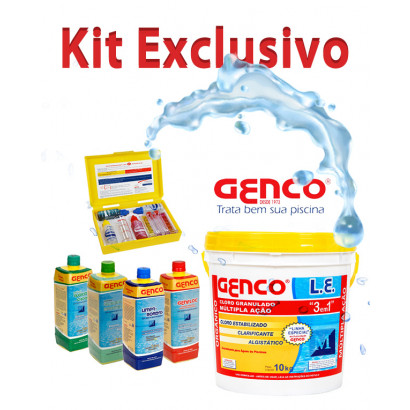 Kit Genco - Cloro Algicida Estojo de analise limpa bordas clarificante