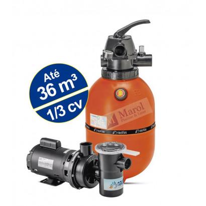 Kit Filtro F350p e Bomba 1/3CV NBFC-1 para piscinas - Nautilus