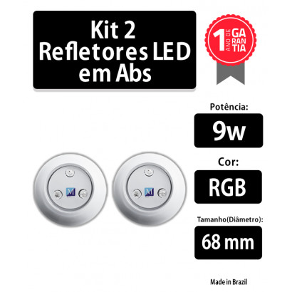 kit 2 refletores 9w rgb abs 68 mm