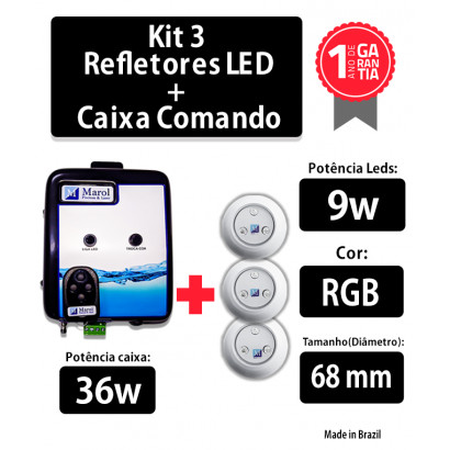 Kit 3 Leds para Piscina 9w RGB em Abs 68mm com Caixa de Comando 36W