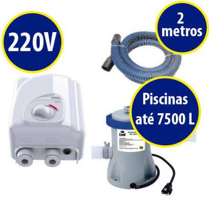 kit Aquecedor + bomba/filtro p/ piscinas infláveis de até 7500 Litros 220V
