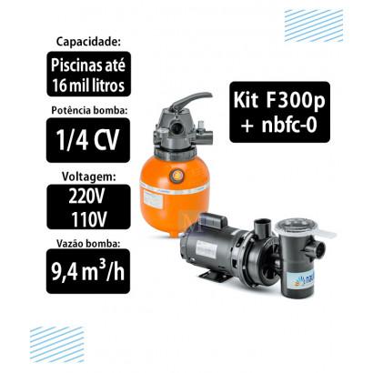 Kit Filtro F300p e bomba 1/4CV NBFC0 para piscinas Nautilus