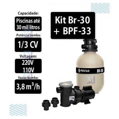 Kit Filtro Br-30 e bomba 1/3CV BPF-033 para piscinas - Sibrape