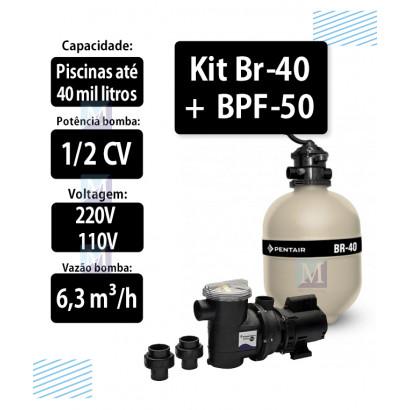 Kit Filtro Br-40 e bomba 1/2CV BPF-050 para piscinas - Sibrape