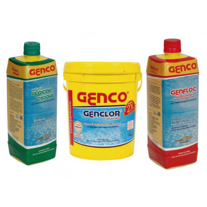 Kit Genco - Cloro tradicional 10 kg + clarificante 1L + Algicida 1L