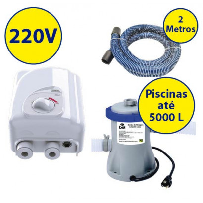 kit Aquecedor + bomba/filtro p/ piscinas infláveis de até 5000 Litros - 220V