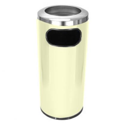 Cinzeiro Lixeira Plástico Com Aro Em Alumínio - Bege