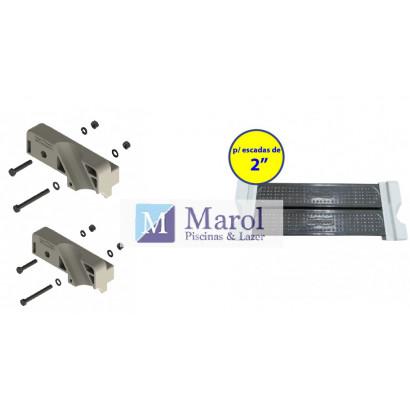 """Degrau Inox Duplo Escada Completo + Ponteira Conjunto Para Degrau Escada Confort 2"""" Par Sodramar"""