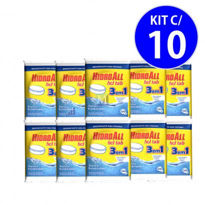 Cloro Tablete HCL 3 EM 1 Multiação 200gr Hidroall - kit c/ 10