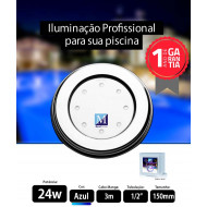 Led para piscina 24w Azul 150mm Marol Piscinas
