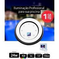 Led para piscina 24w RGB Inox 150mm Marol Piscinas