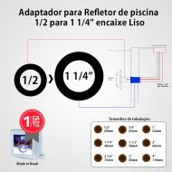 Adaptador para Refletor de piscina 1/2 para 1 1/4 Liso