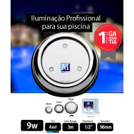 Led para piscina 9w Azul Inox 96mm Marol Piscinas