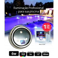 Led para piscina 6w RGB Inox 60mm Marol Piscinas