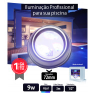 Led para piscina 9w Azul Inox 72mm Marol Piscinas