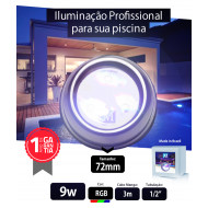 Led para piscina 9w RGB Inox 72mm Marol Piscinas