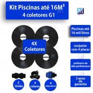 Kit Aquecimento Solar piscinas até 16.000 Litros (4 PLACAS)