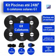 Kit Aquecimento Solar piscinas até 24.000 Litros (6 PLACAS)