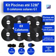 Kit Aquecimento Solar piscinas até 32.000 Litros (8 PLACAS)