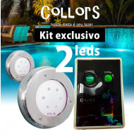 Kit Collors Clean 18w 2 led colorido + 1 caixa de comando