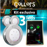 Kit Collors Clean 18w 3 led colorido + 1 caixa de comando