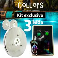 Kit Collors March 3 led colorido + 1 caixa de comando