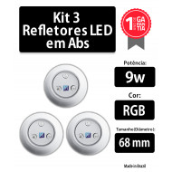 kit 3 refletores 9w rgb abs 68 mm