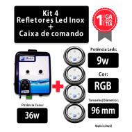 Kit 4 Leds para Piscina 9w RGB em Abs 96mm com Caixa de Comando 36W
