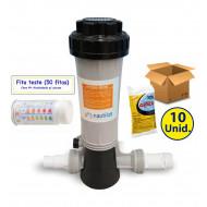 kit clorador + pastilhas + fita teste