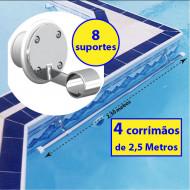 4 Corrimãos Barra para piscinas 2,5 metros + 8 suportes internos fixação - Sodramar